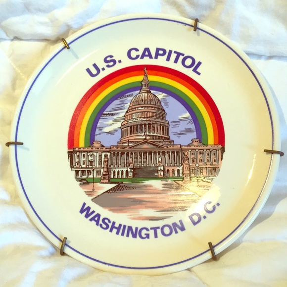 Rainbow over United States Capitol Hanging plate